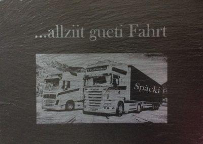 Scania Lastwagen ab Foto. Gravur auf Schiefer.